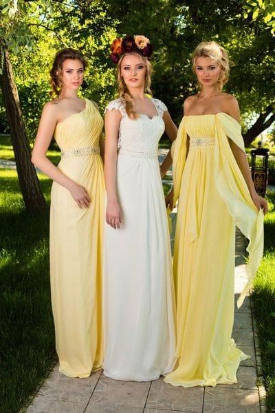 Желтые платья для подружек невесты для солнечного дня