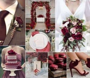 Пять свадебных палитр, основанных на бордовом
